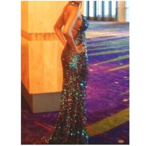 SCALA Beaded PROM / PAGEANT FullLength Sequin Gown